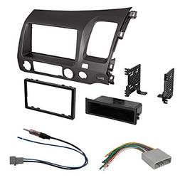 Car Radio Stereo Single 2 Din Taupe Dash Kit Harness for 200