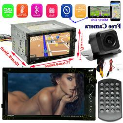 Car Stereo Bluetooth Radio Double 2 Din CD DVD Player Camera