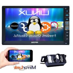 Double 2 Din Car Stereo Mirror Link for GPS Android Phone FM