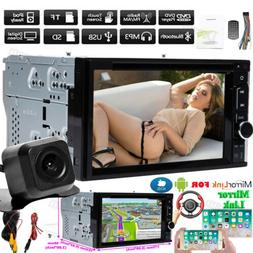 Double 2 DIN Car Stereo USB CD DVD Player Mirror Link For iO