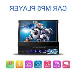 7 Inch Flip-Out HD TFT Touch Screen Single Din Car Stereo wi