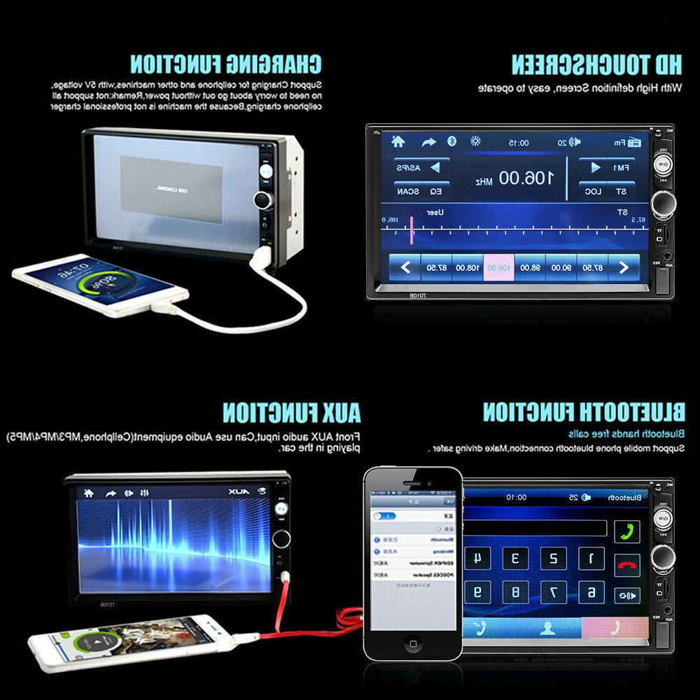 """7"""" Double 2DIN MP5 Player Bluetooth TF Touch Screen Radio FM Dash"""