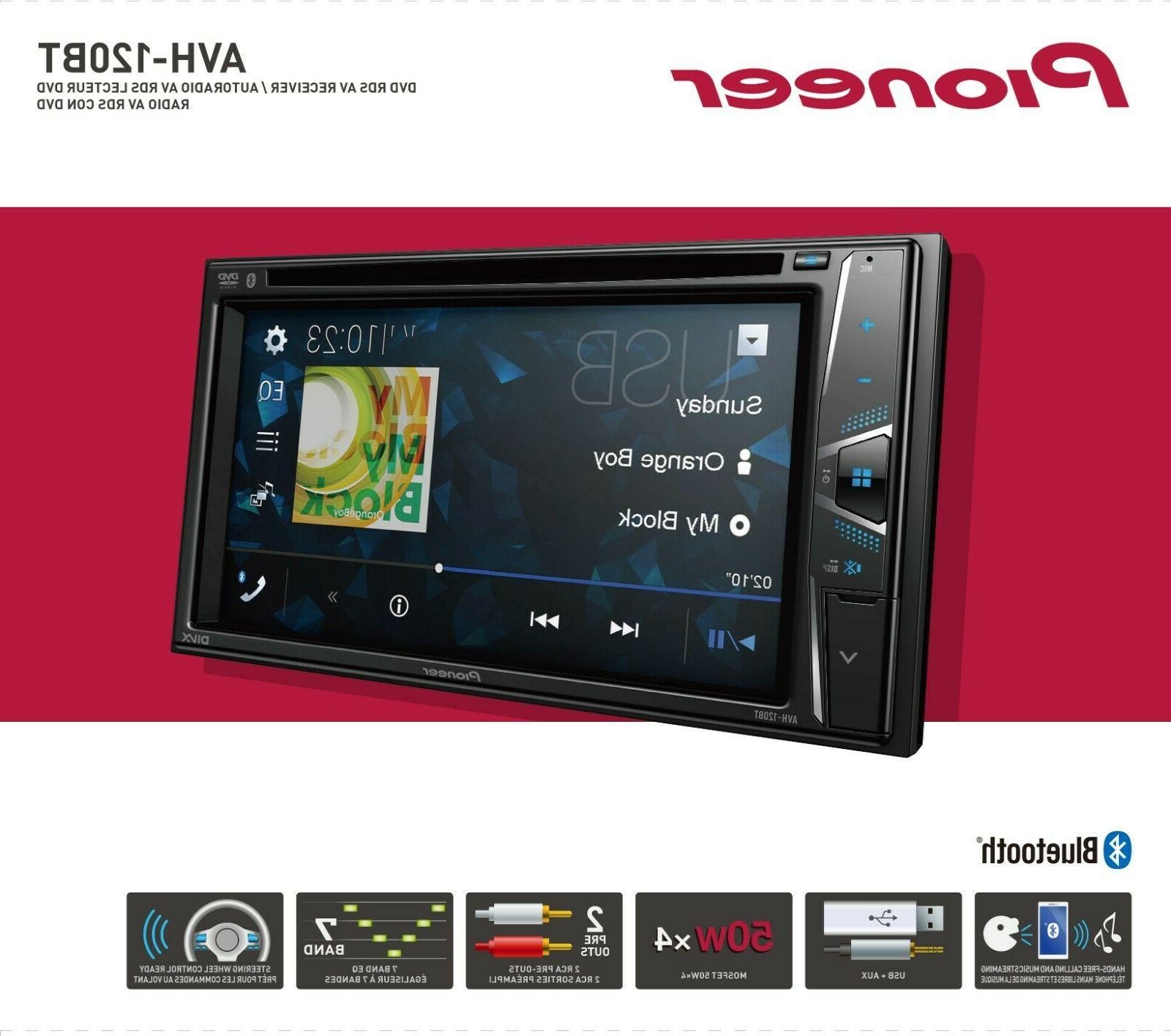 "NEW Din AVH-120BT DVD/MP3/CD Player 6.2"" Touchscreen Bluetooth"