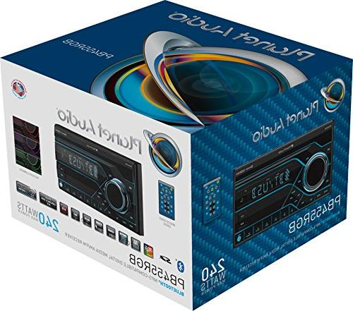 Planet Audio PB455RGB Car Stereo - Double Bluetooth, AM/FM Multi Color RGB Illumination, Wireless Remote