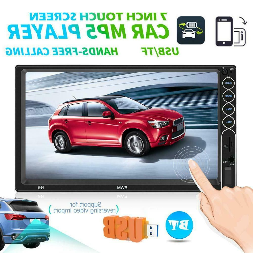 Double 2 DIN 7'' Car Stereo MP5 Player Bluetooth Touch Scree