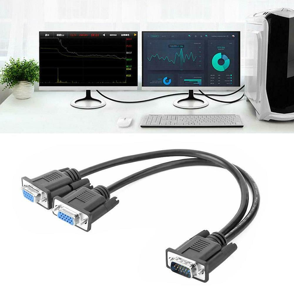 VGA Splitter Cable 1 Computer to Dual 2 Monitor Adapter Y Ma